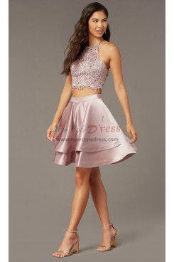 Bean Paste Satin A-line Party Dress, Two-Piece Homecoming Dress sd-022