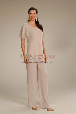 Champagne Chiffon 2PC Mother of the bride Outfit Elastic Waist Women's Panti Suits nmo-743
