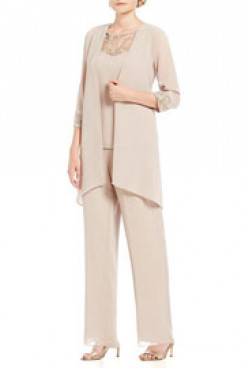 Spring Champagne Chiffon 3 pieces Elastic waist pant suits for mother nmo-396