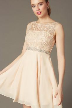 Champagne Chiffon Graduation Dress, Short Party Dress with Glass Drill Belt sd-030-2