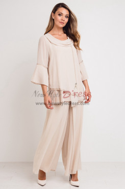 Champagne Chiffon Women's Outfit Mother of the Bride Pant suits Dress nmo-747
