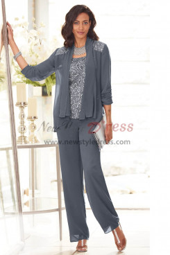 Charcoal Sequins Mother of the bride pant suit Charcoal High-end Chiffon Trouser outfits nmo-449