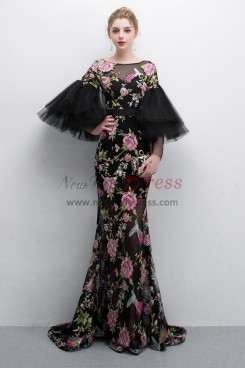 Charming Embroidery Prom dresses With Trumpet sleeve