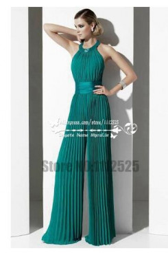 Charming green chiffon prom dresses wide legs accordion pleated jumpsuits for wedding wps-101