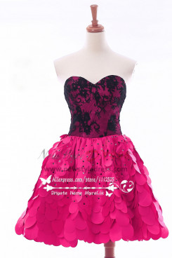 Rose red Charming short Homecoming dresses skirt