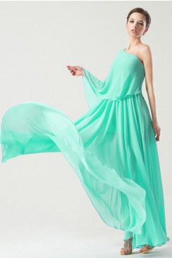 Beach aqua Chiffon One Shoulder Cheap Prom Dresses Asymmetry np-0264