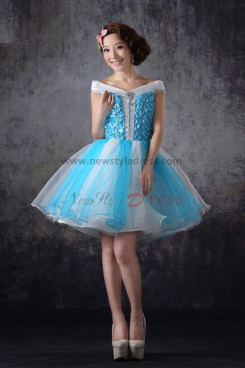 Ocean Blue and white Tulle Off the Shoulder Above Knee Min a-line Cocktail dresses nm-0193