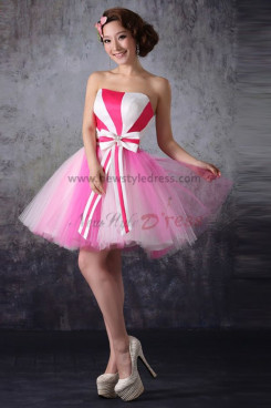chequered with red and white Above Knee Strapless short dress nm-0181