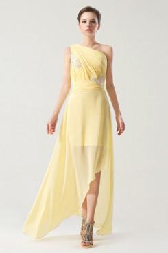 One Shoulder Chiffon Beach Split Front Bridesmaids Dresses np-0261