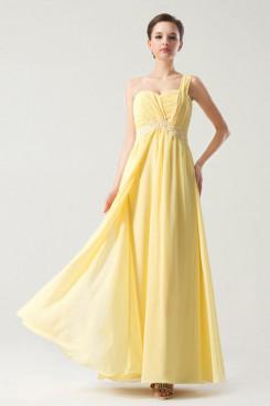 Daffodil One Shoulder Chiffon Draped Prom Dresses Appliques np-0267