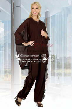 Chocolate chiffon mother of the bride pant suits Unique 3 PC dress for wedding