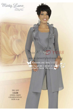 Classic mother fo the bride pant sutis with long jacket Gray 3 PC chiffon women's dress with ruffles