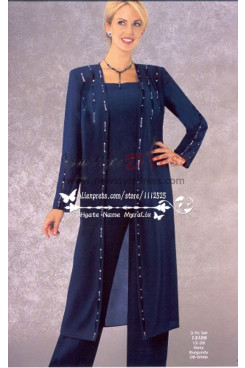 Classic Mother of the bride pant suits with long coat  Dark navy chiffon dresses Plus size  nmo-251