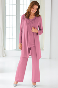 Pearl Pink Classic Mother of the bride pantsuit Beaded Chiffon Trouser set  nmo-440