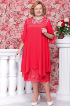 Plus size Red Mother of the bride dress Comfortable Chiffon nmo-559