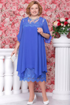 Plus size Royal blue Comfortable Chiffon Mother of the bride dresses nmo-560