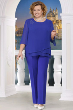 Plus size Mother of the bride pant suits  2PC Elastic waist Royal blue outfit nmo-570
