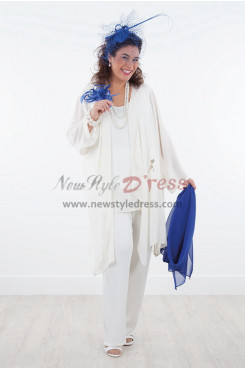 Comfortable  Mother of the Bride Chiffon Trousers set with coat White
