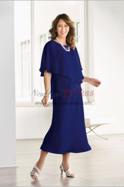 Comfortable Navy blue Mother of the bride chiffon dresses Good workmanship nmo-477