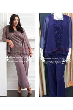 Plus size Royal blue chiffon with lace Mother of the bride pant suit