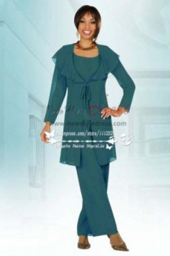 Dark Green  lapels coat mother of the bride pant suits nmo-181