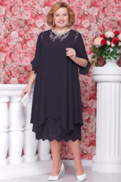 Dark navy plus size  Mother of the bride dress nmo-561