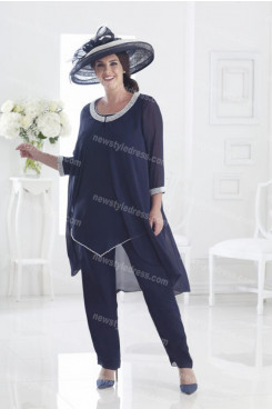 Dark Navy chiffon Mother of the bride pants suits women's outfit nmo-694