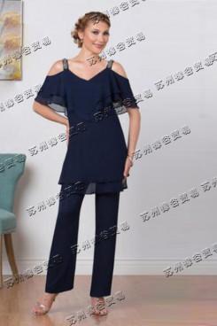 Dark navy Color Dew shoulder Mother Of The Bride Pants Suit