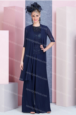 Dark Navy Elegant Mother of the bride outfits Accordion pleats pants suits nmo-690