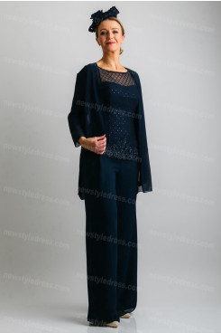 Dark navy Elegant Mother of the bride Trousers outfit 3PC Women's pants suit nmo-684