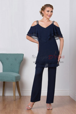 Dark Navy Mother of the bridal pant suits Summer Chiffon outfit nmo-420