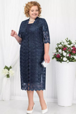 Dark navy Mother of the bride dress with jacket Plus size Mid-Calf women's outfits nmo-584