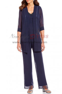 Dark Navy Mother of the bride outfits dresses with jacket Beaded nmo-398
