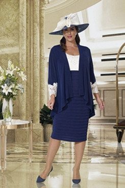 2PC women's outfits with jacket Dark navy Plus size Mother of the bride dresses NMO-632