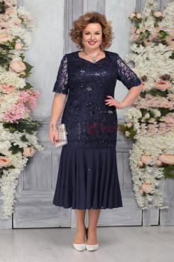 Dark Navy Plus Size Short Sleeves Women's Dresses Mermaid Mother of the Bride Dresses nmo-759-2