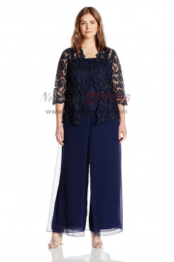 Dark navy Plus size Three pieces mother of the bride pantsuits dresses nmo-416