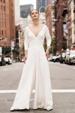 Deep V-neck Bridal Jumpsuit Modern Wedding Culottes wps-140