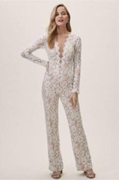 Deep V-Neck Lace Bridal Jumpsuits Wedding Pantsuit dresses wps-131