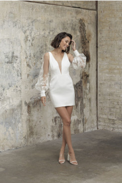 Deep V-Neck Lace Wedding Jumpsuits Above Knee hBride Dresses wps-239
