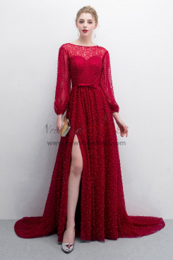Delicate Pearl lace Burgundy Court Train Prom dresses With Puff sleeve