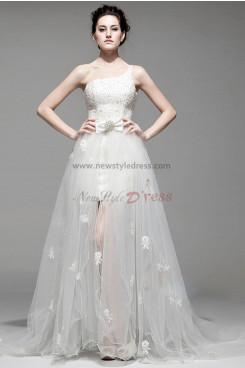 disassemble One Shoulder beading Lace Sheath Ivory prom dresses nw-0159