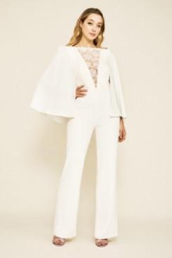 Dressy Bridal Jumpsuits Wedding Cape Gown wps-150