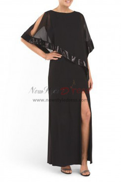 Dressy Oblique band Ankle-Length balck dress nmo-336