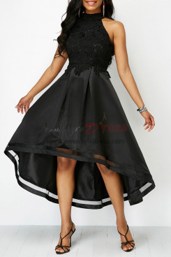 Elegant High-low Asymmetry Black Party Dresses nmo-337