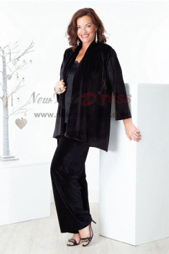 Elegant Black 3 Pieces Velvet Mother outfit Women pant suits for special occasion nmo-393