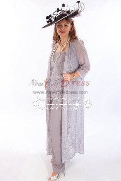 Elegant gray lace 3PC outfit Wedding Pantset mother of bride pant suits with long coat New arrival  nmo-259