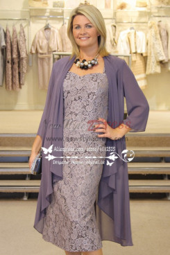 Elegant gray lace two picec mother of the bride dress with Chiffon outer for the wedding cms-095