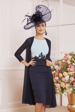 Navy Blue Knee-length Mother of the bride dress With Chiffon Jacket wps-250