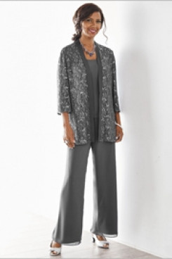 Charcoal Elegant lace Mother of the bride pant suits dresses nmo-535