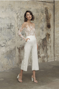Elegant Lace Wedding Jumpsuits Mid-Calf Bride Jumpsuits wps-238